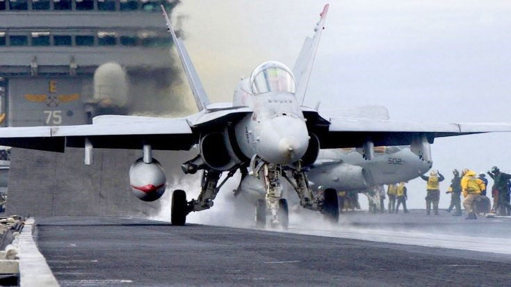 U.S. Navy F-A-18 Super Hornet flies with a new long-range stealth sensor