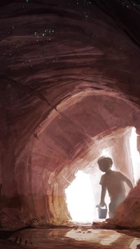 child in cave wallpaper