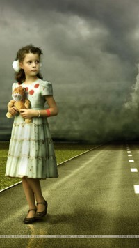 girl on road with doll wallpaper