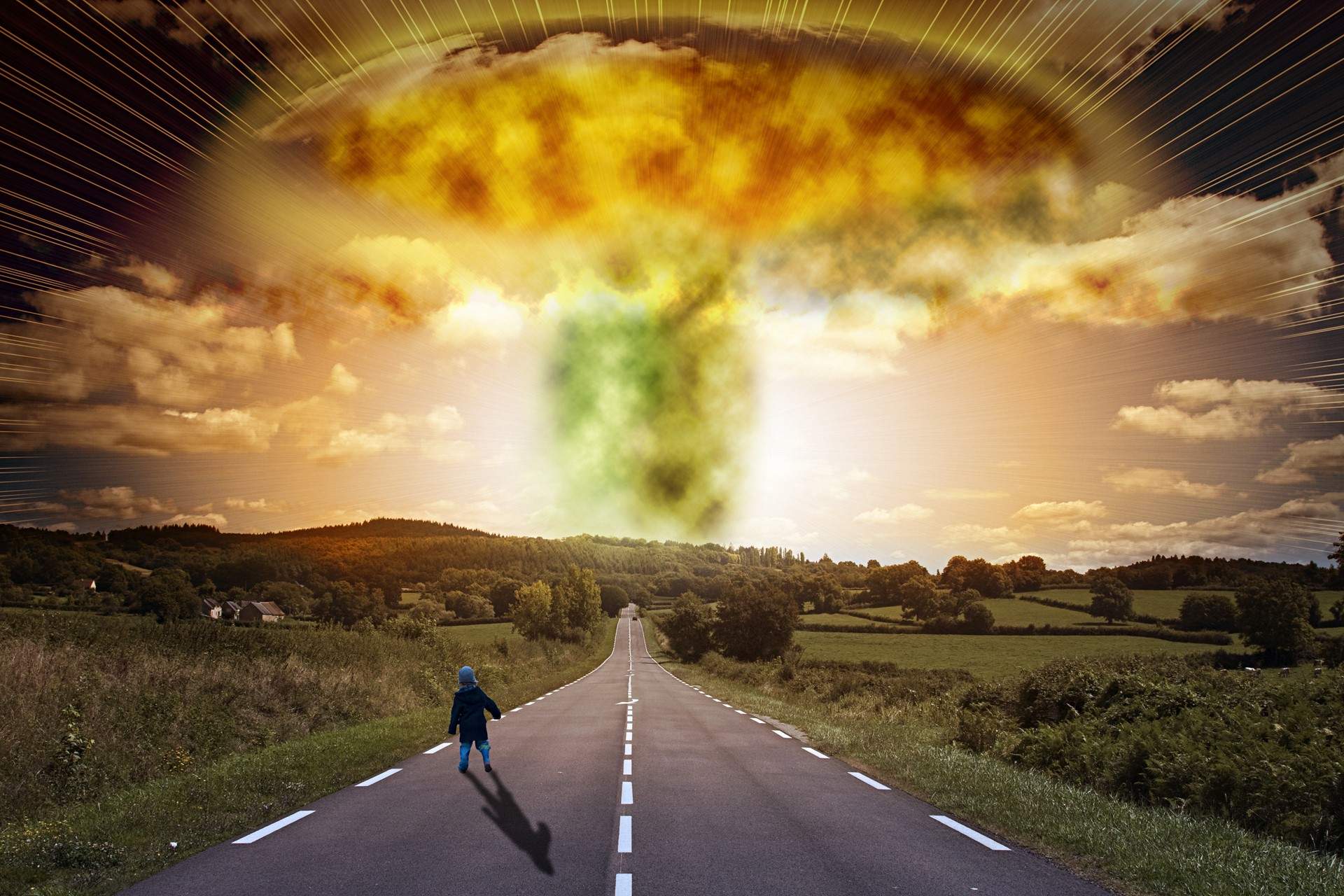 Apocalypse child watching from road HD wallpaper for Desktop