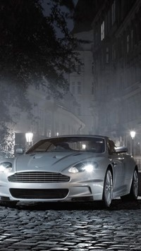 slive cool car on roads of bricks wallpaper